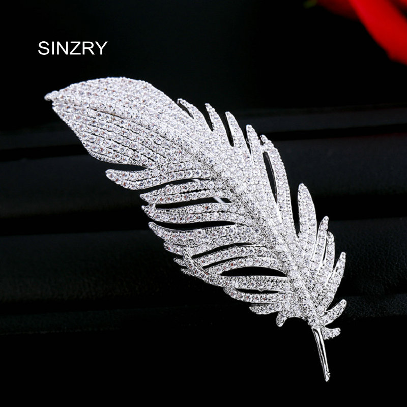 SINZRY Jewelry Hotsale clear white cut cubic zircon micro paved elegant leaf brooch pin for women christmas gift elegant artificial gem oval rhinestone leaf floral brooch for women