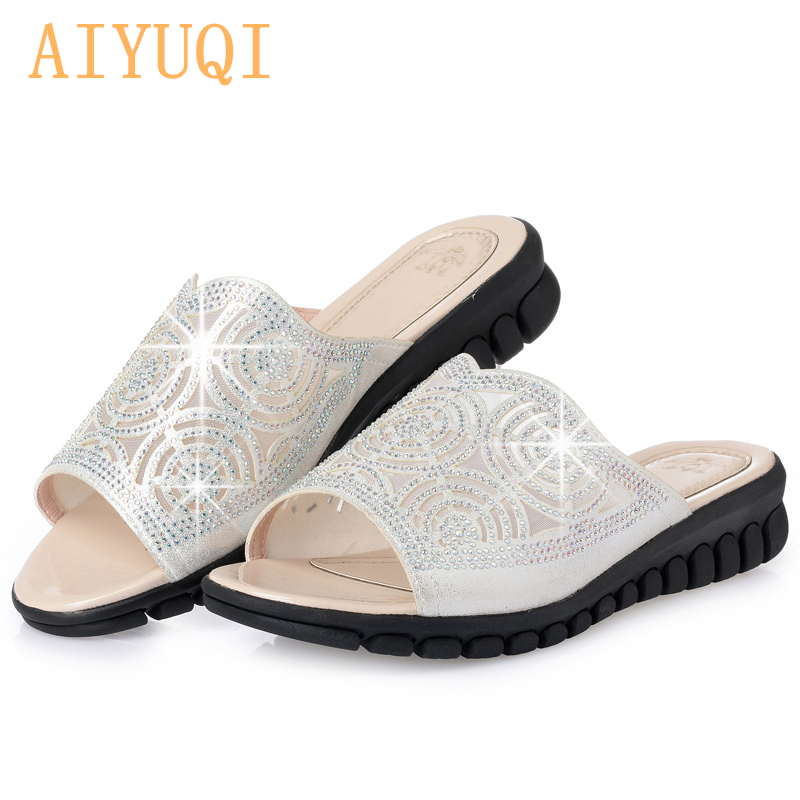 AIYUQI 2019 summer crystal female flip flop flat bottom comfortable large size 41 42 43 bling gold silver slippers female beach in Slippers from Shoes