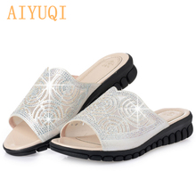AIYUQI 2019 summer crystal female flip flop, flat bottom comfortable large size 41 42 43 bling gold silver slippers beach
