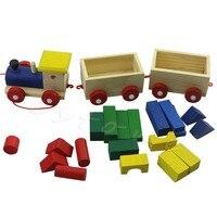 Fun Wooden Kids Baby Developmental Toys Toddler Train Truck Set Geometric Blocks