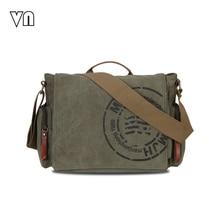 2016 vn vintage herren messenger bags leinwand schulter handtasche mode männer business umhängetasche druck kurze reisetasche handtasche