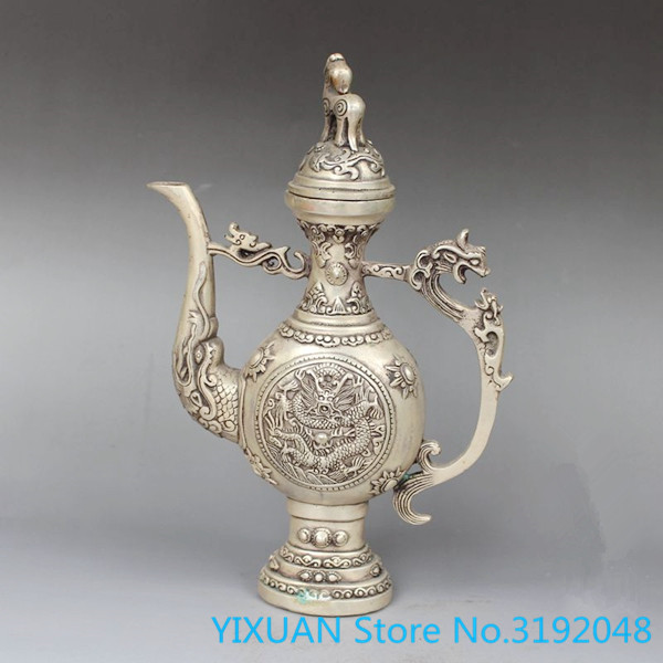 Chine Tibet vieux Vintage travail manuel argent cuivre Dragon théière métal artisanat