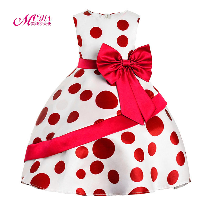 2018 New Style Summer Baby Girl Print Dots Girl Dress for Wedding Girls Party Dress With Bow Dress for 3 4 5 6 7 8 9 10 11 Years umeile 9 colors 8 16 dots 25 6 12 5cm