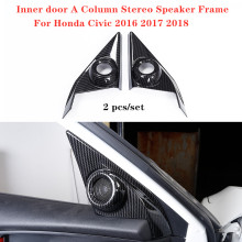 A Pair Door Inner Column Stereo Speaker Carbon Fiber Decoration Frame For Honda Civic 2016 2017 2018 Car Accessories
