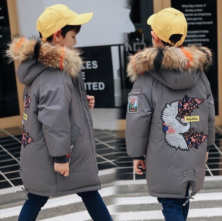 Boys' Down Jacket Long 2018 New Korean Thicken Children's Wear Tide Baby White Duck Down Winter Jacke winter down top jacke