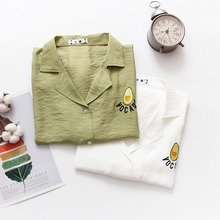 Korean solid  Blouse Fashion Short Sleeve Summer turn-down collar loose wild embroidery small fresh shirt