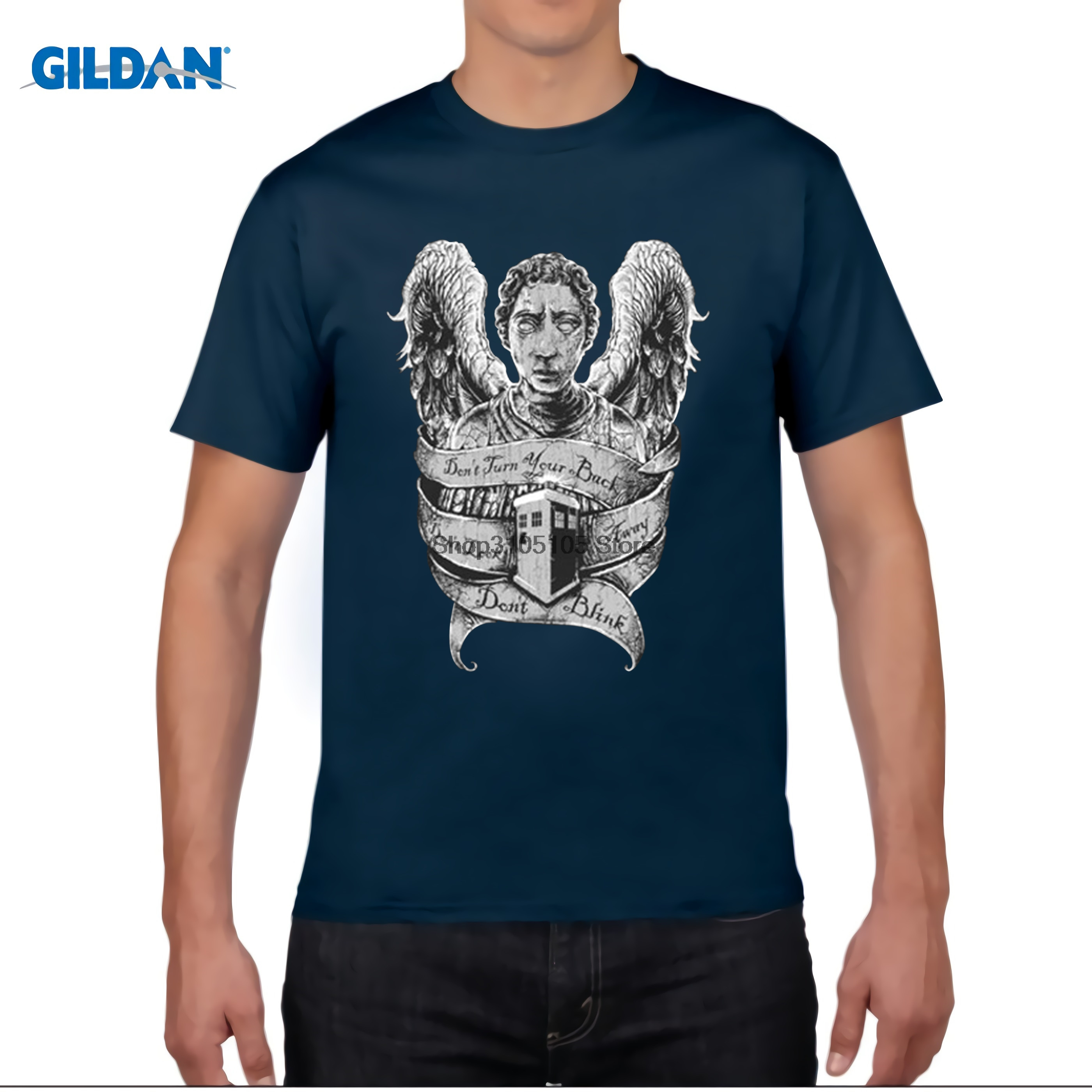 GILDAN Doctor Who classic plain shirts mens solid T shirt tee Weeping Angel O-neck cotton t shirt Fitness trend brand clothing