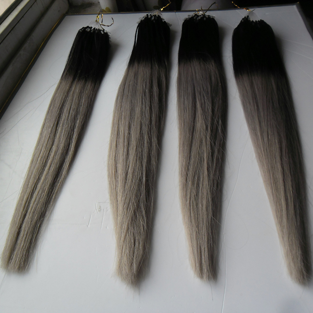 Silver Grey Hair Extensions Micro Ombre Gray Hair Extensions Micro