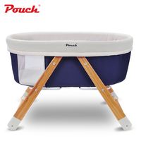 POUCH Portable Baby Bed, Foldable Baby Crib, Pine baby rocking cradle, Newborn baby travel cot
