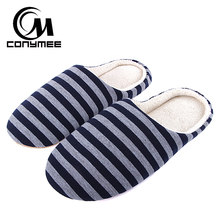 CONYMEE Men Casual Sneakers For Home Slippers Winter Striped Soft Floor Man Indoor Flats Shoes Warm Plush Cotton Slipper Terlik(China)
