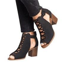 Sandalias de gladiador para mujer, estilo veraniego, tacón alto, Vintage, para mujer, de encaje negro, zapatos de mujer, sandalias transparentes, zapatos sexis, tallas 34-43
