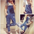 New Fashion Women's Summer Washed Jeans Denim Casual Overalls Jeans High Waisted Leisure Loose Holes Jumpsuit Trousers