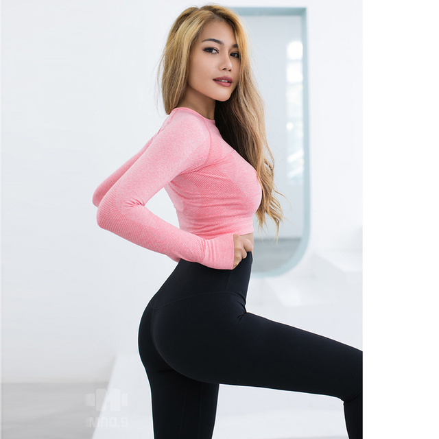 61aba61f7cb666 Pink Seamless Yoga Shirts for Women Vital Seamless Long Sleeve Crop Top  Thumb Hole Fitted Gym ...
