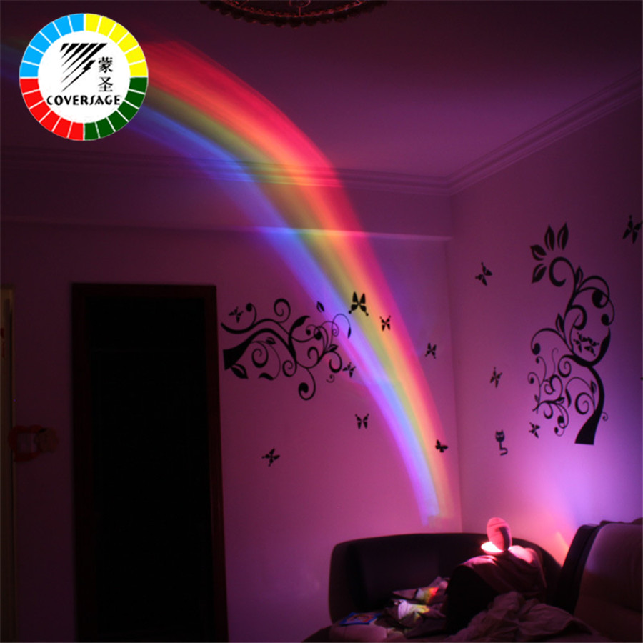Coversage Rainbow Night Light Projector Children Kids Baby Sleeping Romantic Led Projection Lamp Atmosphere Novelty Lamps Gift creative mushroom kids gift rainbow colorful led night light boon glowing led lamp with removable balls children sleeping toy