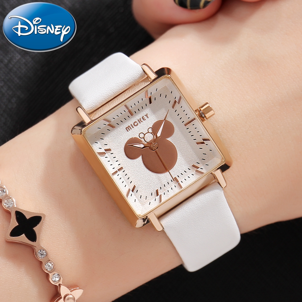 Mickey Mouse Ladies Square Leather Quartz Waterproof Wristwatch Disney Women Simple Fashion Trendy Elegant Good Quality Watches disney brand genuine leather fashion women wristwatch quartz waterproof woman watches luxury top ladies clock mickey original