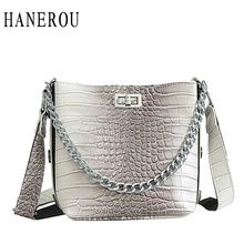 HANEROU Crocodile Pattern Handbag New PU Leather Chain Bucket Bag Portable Women Bag Luxurious Famous Brand Ladies Shoulder Bag цена и фото