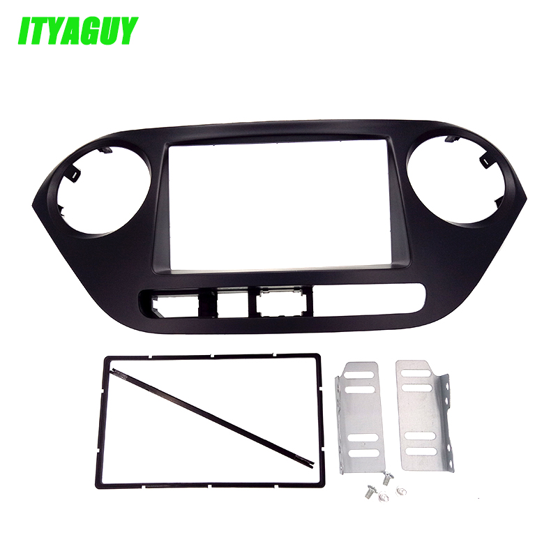 Top Quality free shipping 2DIN Dash Radio Fascia for HYUNDAI i-10 2014, i10(Low end)CD Panel Fascia Kit Fitting face Plate Frame