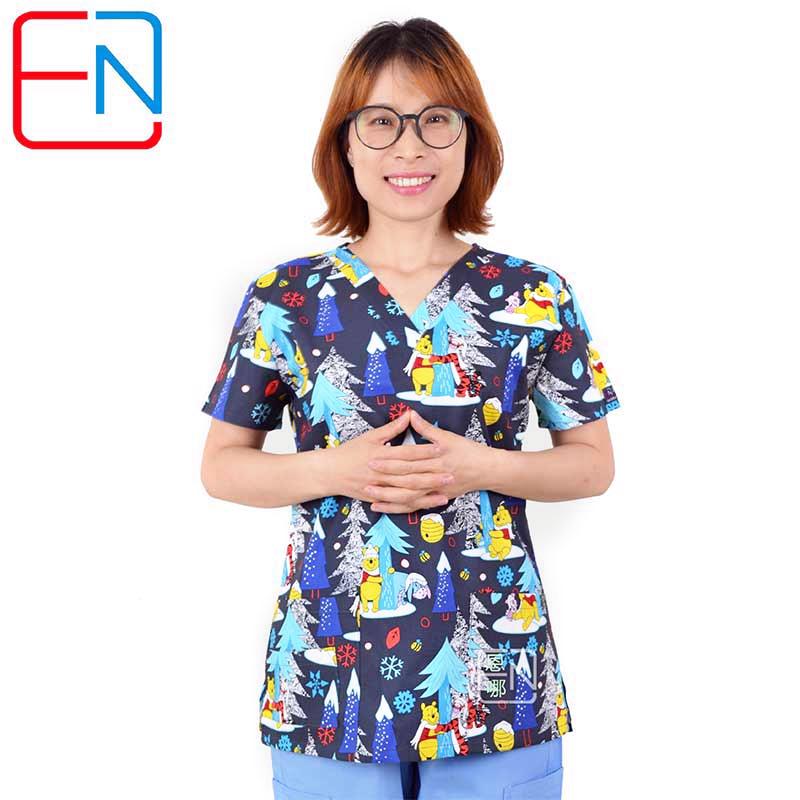 Hennar Women Scrub Tops Medical Clothing 100% Cotton For Nurse Doctor Work Wear Uniforms Print Breathable Women Medical Uniform