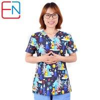 Hennar Women Scrub Tops Medical Clothing 100% Cotton For Nurse Doctor Uniforms Print Women Medical Uniform christmas design