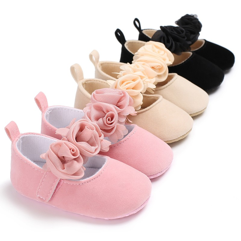 Lovely Cute Rose Flower Cotton Farbic Baby Shoes Newborn Girl Princess Dress Mary Jane Lovely Soft Sole Shoes 0-18M J3