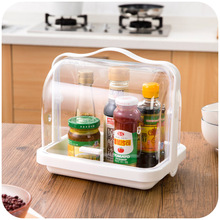 Kitchen transparent flip about food storage containers, portable bathroom medicine chest cosmetic storage box