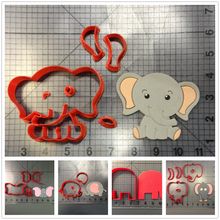 Cartoon Animal Lovely Elephant Series Fondant Cupcake Top Custom Made 3D Printed Cookie Cutter Set
