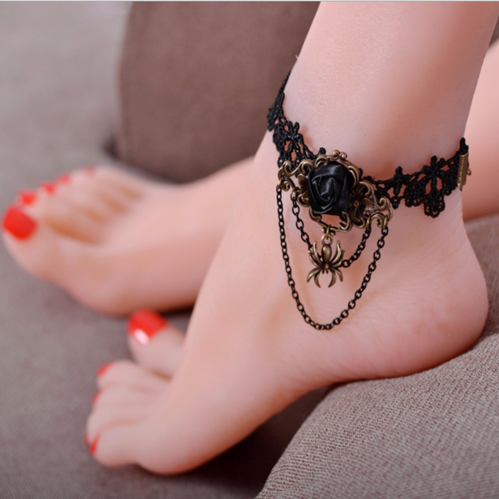 Handmade Craft Vintage Noble Wedding Decorations Romantic Gothic Style  Women Lace Anklets Chain Foot Ankle Bracelet