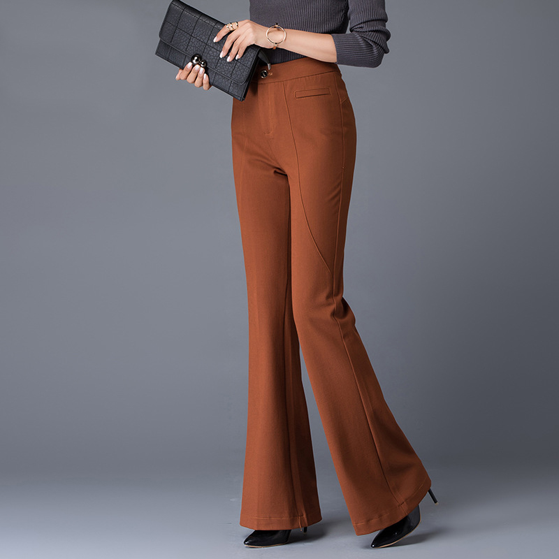High Grade Brand Womens Straight Flare Pants For Spring Autumn Winter High Waist Slim Pants Beautiful Formal Office Trousers