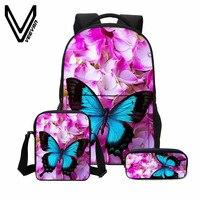 VEEVANV 3 PCS SET Fashion 3D Butterfly Printing Bookbag Canvas Backpacks Women Shoulder Bags Children Backpacks
