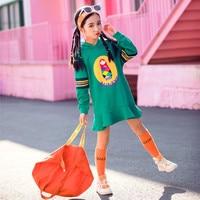 Spring Girls Cartoon Print Fashion Dress Children Clothings Toddler Girls 10 Years Sports Hooded Dress Girl Cotton Lotus Dresses