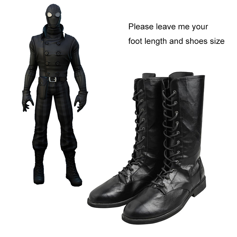 0cf5d06dca1 US $46.88 20% OFF|Spider man Noir Cosplay Boots Spiderman Shoes Comics  Superhero Cosplay Costume Accessories Black Boots Adult Halloween  Carnival-in ...