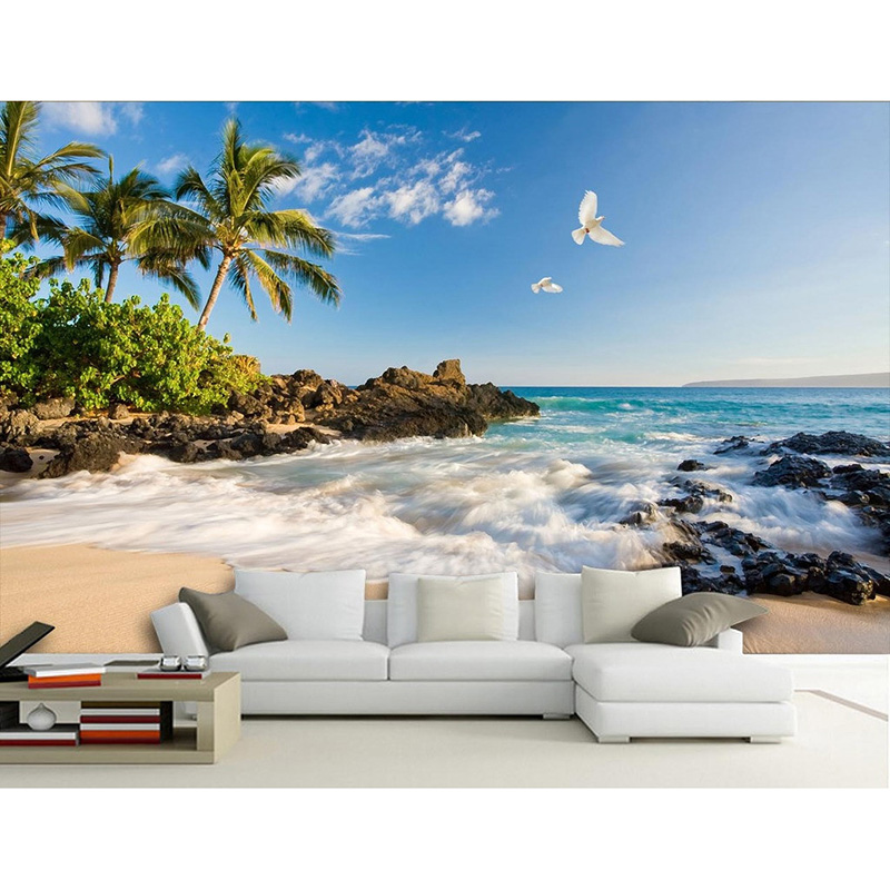 Purple wallpaper tv wall background wallpaper murals 3d for Beach mural wallpaper
