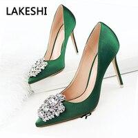 New 2017 Spring Autumn Women Pumps Elegant Rhinestone Silk Satin High Heels Shoes Heeled Sexy Thin