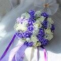 Фиолетовый и Белый Свадебный Букет Ручной Работы Искусственный Цветок Розы buque casamento Свадебный Букет для Свадьбы Украшения