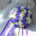 Purple and White Wedding Bouquet Handmade Artificial Flower Rose buque casamento Bridal Bouquet for Wedding Decoration