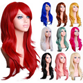 "28""70 cm Long Wavy Black Red 10 Colors Synthetic Hair Anime Cosplay Wig,Halloween Holiday Party Womens Silver White Peruca Wig"