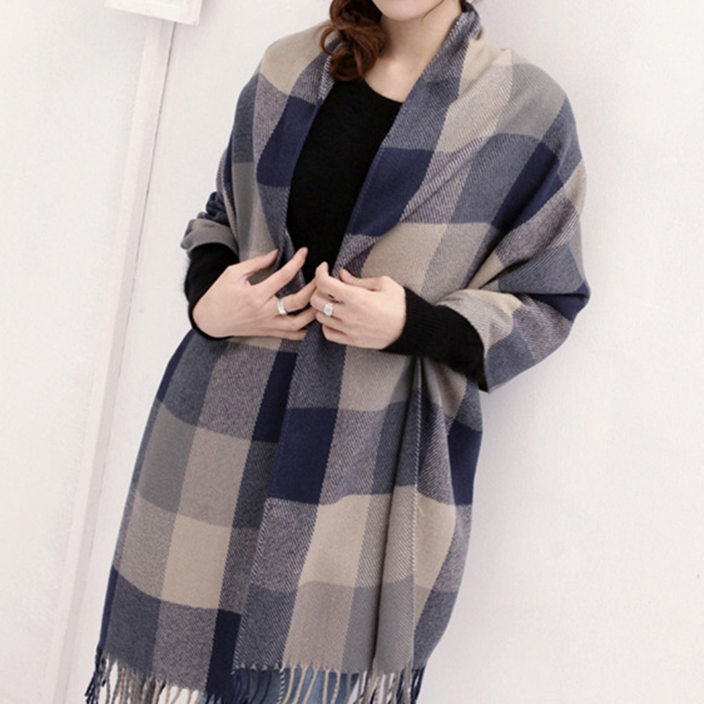 Women s Plaid Scarf Cozy Long section thick font b Tartan b font Scarf Wrap Grid