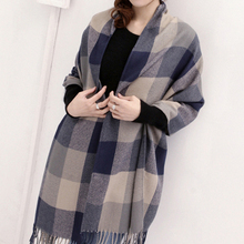 Women's Plaid Scarf Cozy Long section thick Tartan Scarf Wrap Grid Shawl Dual-use