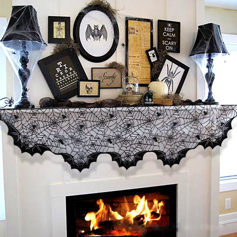 200*50cm Lace Spider Bats Fireplace Mantel Scarf Halloween Decoration Props for Home Festive Party Supplies hearth