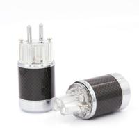 Um Par De Fibra De Carbono de Alta Fidelidade Rhodium Schuko UE Plug Power Masculino Feminino cabo Conector De Alimentação para diy audiófilo|Plugues e conectores| |  -