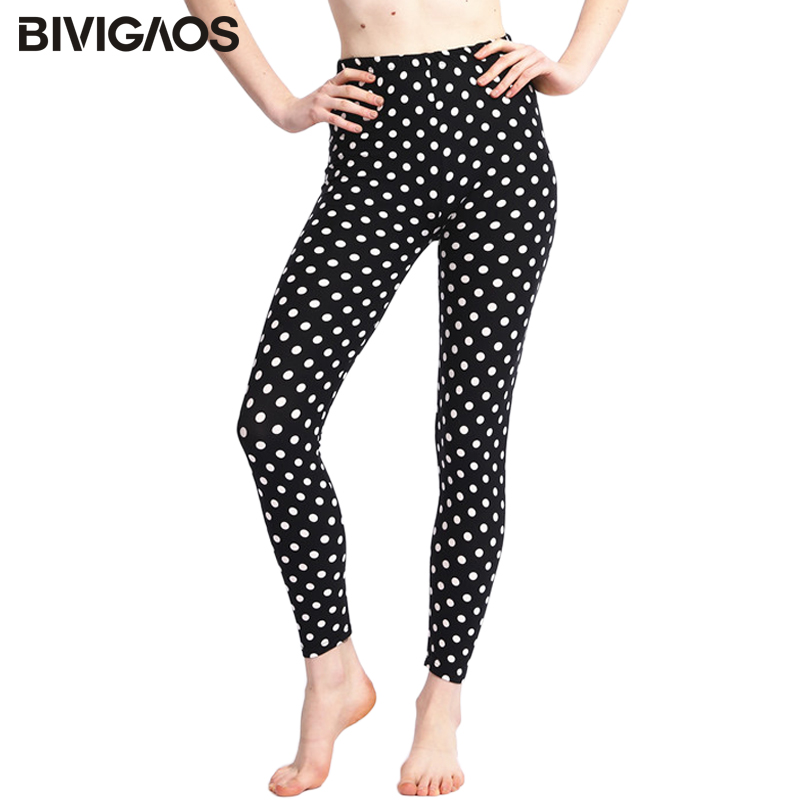 BIVIGAOS 8 Design Women Dot Flower Stretchy Spandex Leggings For Summer Slim Ankle Pencil Pants Casual Legging Home Leggins Tayt