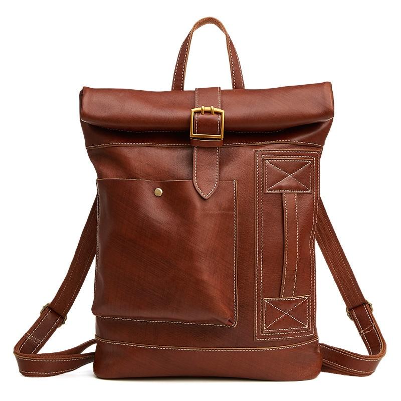 Backpacks Enthusiastic Nesitu High Quality Casual Vintage Brown Real Skin Genuine Leather Women Mens Backpacks 14 Laptop Male Men Travel Bags M6396 Convenience Goods Men's Bags