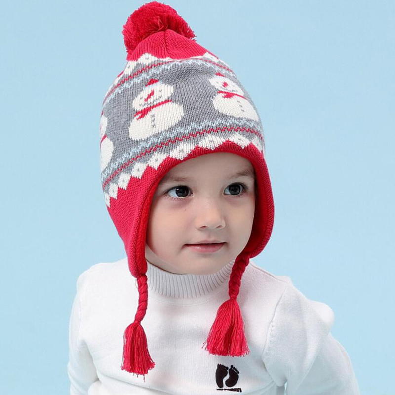 Baby Winter Warm Hats Child Kid Thickening Knitted Cartoon Bear Cap and Earflap