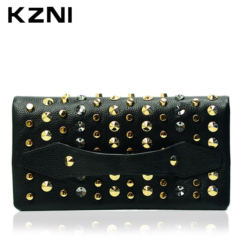 KZNI Genuine Leather Bags Women Luxury Bag with Chain Wallet Card Holder Purses and Handbags Day Clutches Crossbody 1405-1406 kzni genuine leather purses and handbags bags for women 2017 phone bag day clutches high quality pochette bolsa feminina 9043