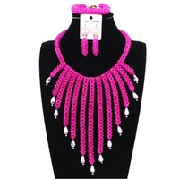 Fuchsia Hot Pink African Beads Jewelry Sets Tassel Nigerian Wedding Jewelry Set For Brides Free Shipping 2018 Fashion Indian Set