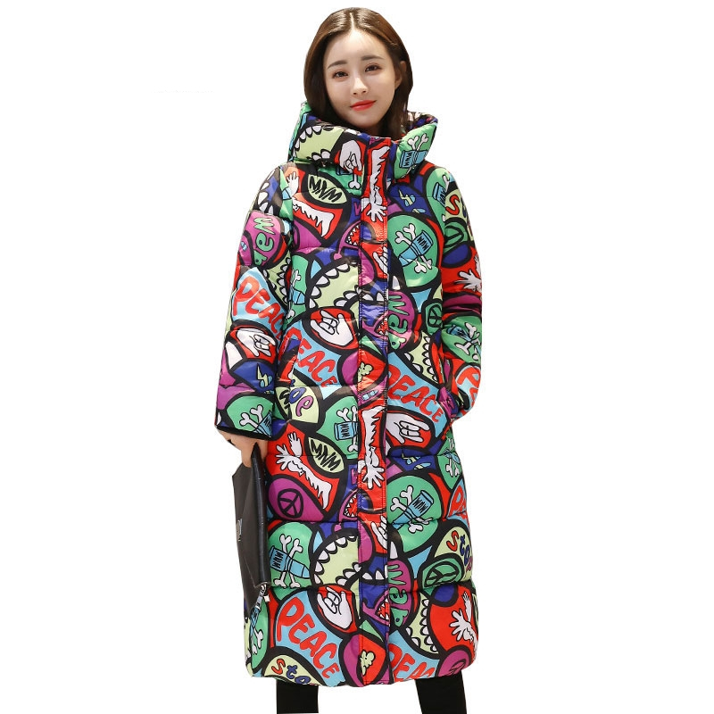 2019 New Hooded Colorful Winter   Down     Coat   Jacket Long Warm Women Casaco Feminino Abrigos Mujer Invierno Parkas Outwear   Coats