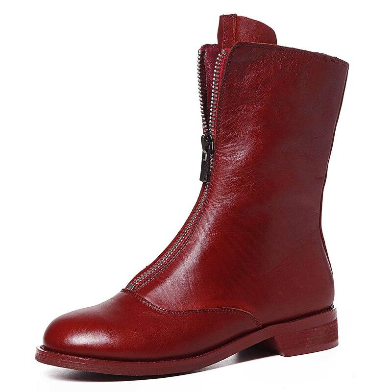 21898c4df6 Bege Redondo Elegante Botas Menina Msfair Do Boots preto De vermelho  Quadrado A Mulher Calcanhar Fivela ...