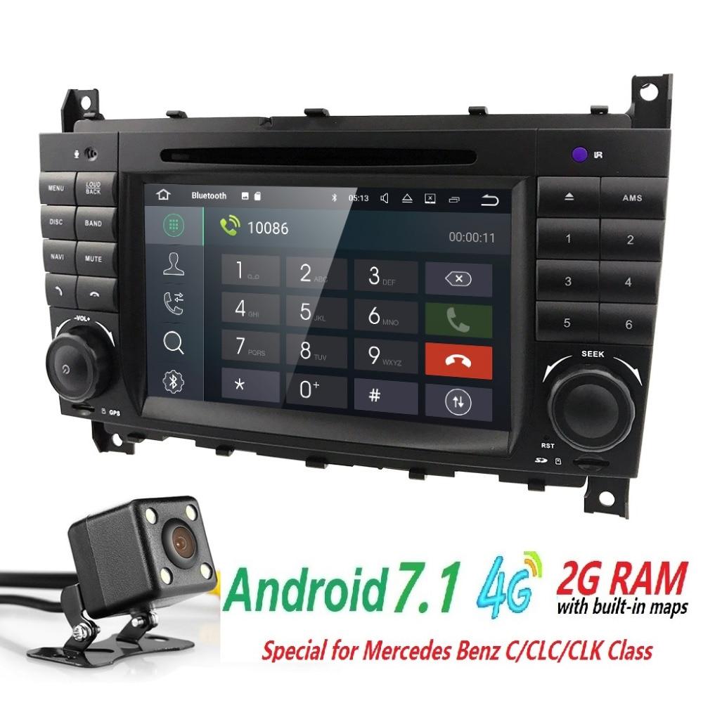 2 din AutoRadio GPS Android 7.1 Car DVD Multimedia Player For Mercedes Benz C-Classs CLC W 203 209 2004-2009 CLK C180 C200 C220
