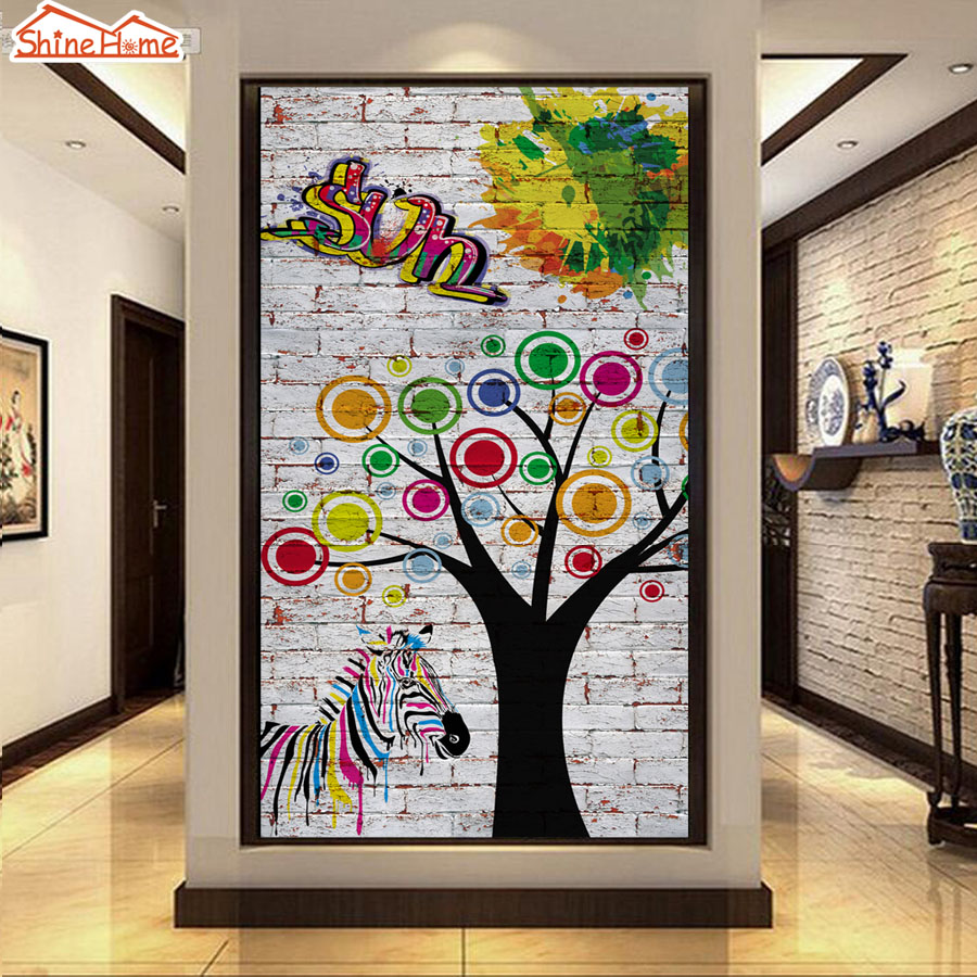 ShineHome-Abstract Tree Painting on Brick Graffiti Room Wallpaper Murals for Walls Rolls Wall Paper Papel Pintado Pared Rollos shinehome skyline sea wave sunset seascape wallpaper rolls for 3d walls wallpapers for 3 d living rooms wall paper murals roll