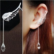 Angel Wings Earrings Flash Drop Dangle Crystal Chain Fringe 2019 New Fashion Ear Stud Clip Jewelry for Women Gift WD295